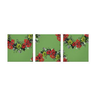"Wreath ""Triple Flower"" Flowers Floral Canvas Print"