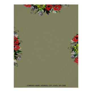"Wreath ""Triple Flower"" Flowers Floral Letterhead"