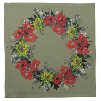 "Wreath ""Triple Flower"" Flowers Floral Napkins"