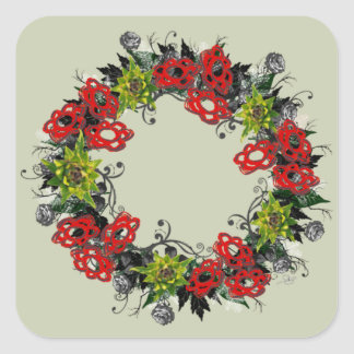 "Wreath ""Triple Flower"" Flowers Floral Sticker"