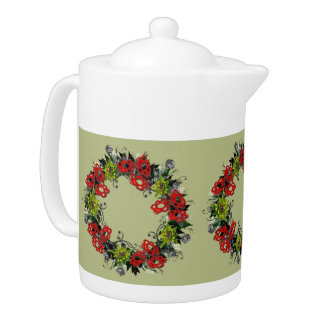 "Wreath ""Triple Flower"" Flowers Floral Teapot"
