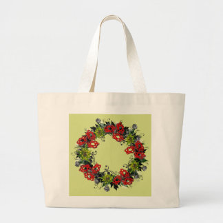 "Wreath ""Triple Flower"" Flowers Floral Tote Bag"