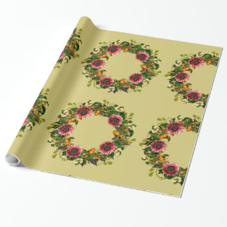 """Wreath """"Victoria Wedding"""" Flowers Wrapping Paper"""