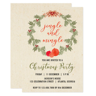 Wreath Vintage Christmas Party Invitation