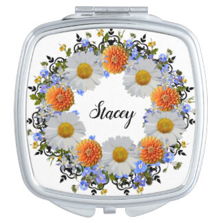 Wreath Wedding Flower Floral Vector Daisies Stacey Makeup Mirror