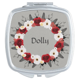 Wreath Wedding Flower Floral Vector Red Gray Dolly Makeup Mirror