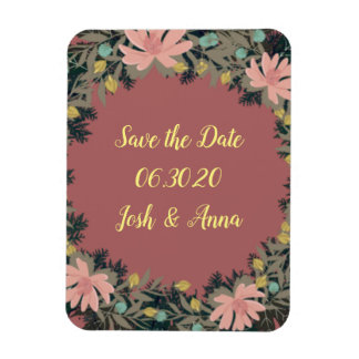 Wreath Wedding Flowers Floral Save the Date Square Magnet