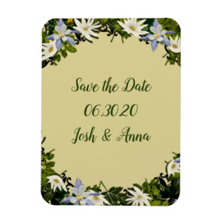 Wreath Wedding Flowers Floral Save the Date Stone Magnet
