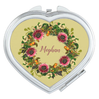 Wreath Wedding Flowers Floral Vector Gold Meghan Compact Mirror