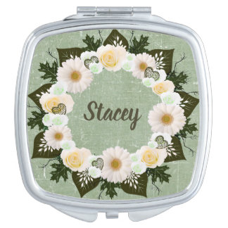 Wreath Wedding Flowers Floral Vector Green Stacey Compact Mirror