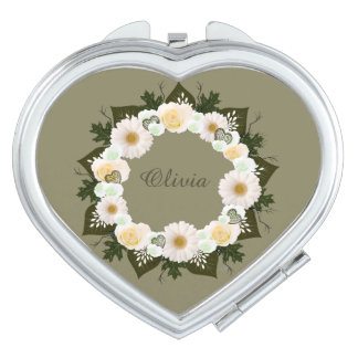 Wreath Wedding Flowers Floral Vector Olive Olivia Makeup Mirror