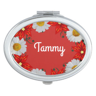 Wreath Wedding Flowers Floral Vector Red Tammy Compact Mirror