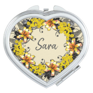 Wreath Wedding Flowers Floral Vector Sara Sarah Compact Mirrors