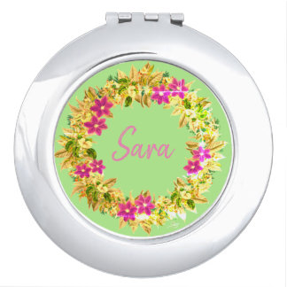Wreath Wedding Flowers Floral Vector Sara Sarah Travel Mirror