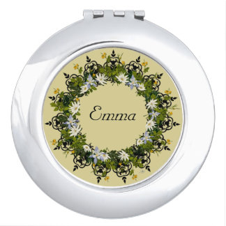 Wreath Wedding Flowers Floral Vector White Emma Compact Mirror