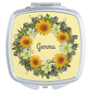Wreath Wedding Flowers Floral Vector Yellow Gemma Compact Mirrors