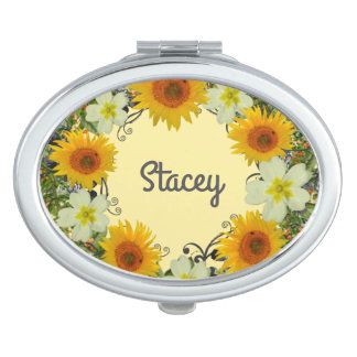 Wreath Wedding Flowers Floral Vector Yellow Stacey Compact Mirrors