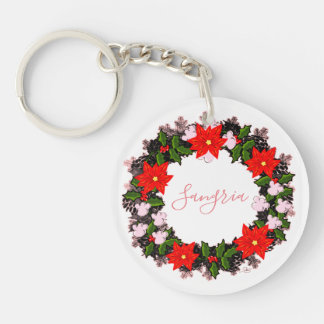 """Wreath """"Winter Roses"""" Flowers Floral Keychain"""