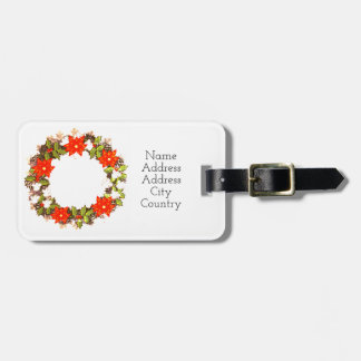 "Wreath ""Winter Roses"" Flowers Floral Luggage Tag"