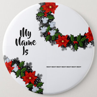 """Wreath """"Winter Roses"""" Flowers Floral Vector Button"""