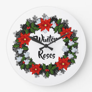 """Wreath """"Winter Roses"""" Flowers Floral Vector Clock"""