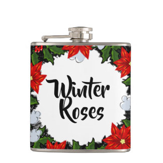 """Wreath """"Winter Roses"""" Flowers Floral Vector Flask"""