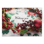 Wreath with berries on a quilt Christmas Greeting Card
