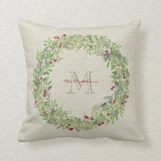 Wreath with monogrammed name & initial throw pillow