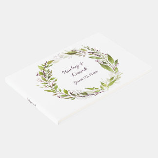 Wreath with Plum Purple Berries Vines Guest Book