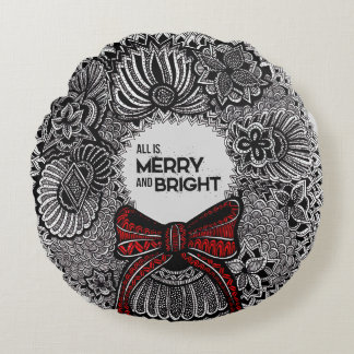 Wreath with Text Round Pillow