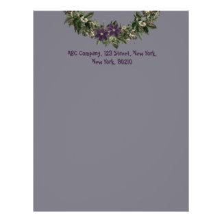 "Wreath ""Wow Purple"" Flowers Floral Letterhead"