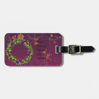 "Wreath ""Wow Purple"" Flowers Floral Luggage Tag"