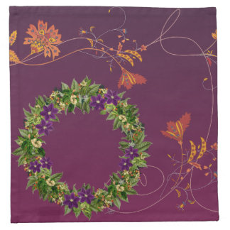 "Wreath ""Wow Purple"" Flowers Floral Napkins"