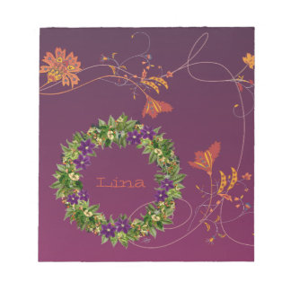"""Wreath """"Wow Purple"""" Flowers Floral Notepad"""
