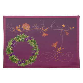 "Wreath ""Wow Purple"" Flowers Floral Placemat"