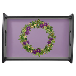 "Wreath ""Wow Purple"" Flowers Floral Serving Tray"