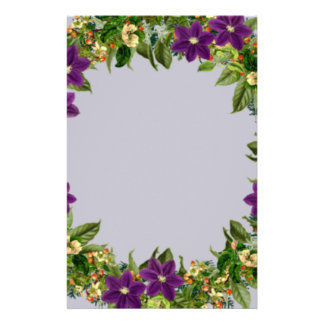 """Wreath """"Wow Purple"""" Flowers Floral Stationery"""