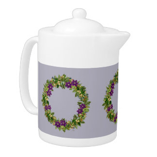 "Wreath ""Wow Purple"" Flowers Floral Teapot"