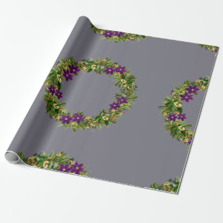 """Wreath """"Wow Purple"""" Flowers Leaves Wrapping Paper"""