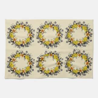 "Wreath ""Yellow Yellow"" Flower Floral Kitchen Towel"