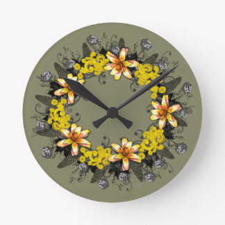 "Wreath ""Yellow Yellow"" Flowers Floral Clock"