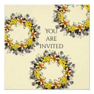 """Wreath """"Yellow Yellow"""" Flowers Floral Invitations"""