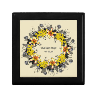 "Wreath ""Yellow Yellow"" Flowers Floral Jewelry Box"