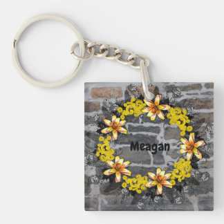 "Wreath ""Yellow Yellow"" Flowers Floral Keychain"