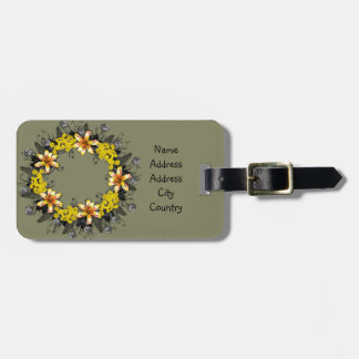 "Wreath ""Yellow Yellow"" Flowers Floral Luggage Tag"