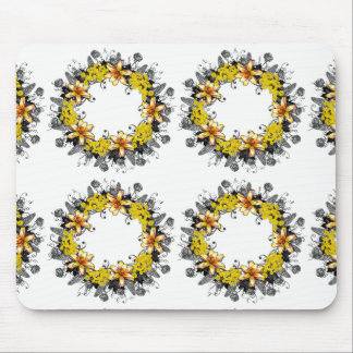"""Wreath """"Yellow Yellow"""" Flowers Floral Mousepad"""