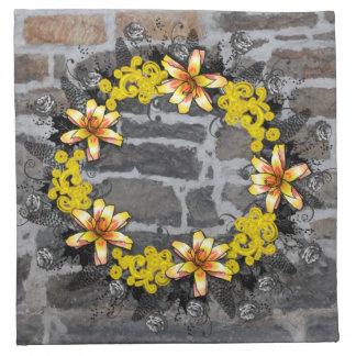"Wreath ""Yellow Yellow"" Flowers Floral Napkins"