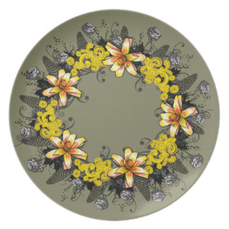 """Wreath """"Yellow Yellow"""" Flowers Floral Plate"""