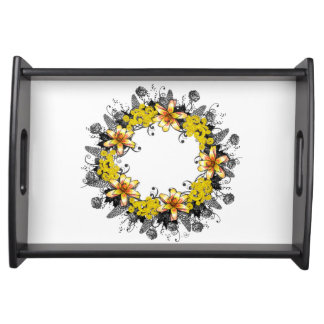 "Wreath ""Yellow Yellow"" Flowers Floral Serving Tray"