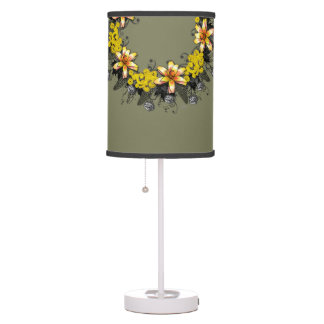 "Wreath ""Yellow Yellow"" Flowers Floral Table Lamp"